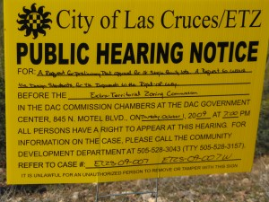 ETZ notice for 10-01-09 meeting, posted on Achenbach Canyon Rd.