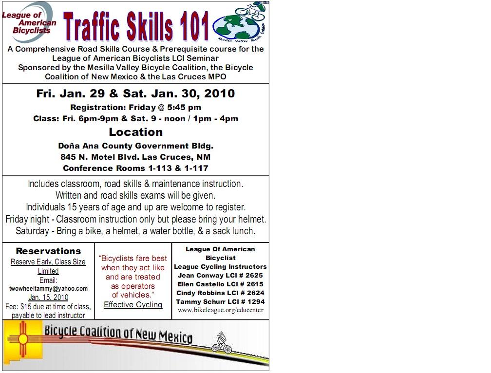 Traffic Skills 101 flyer